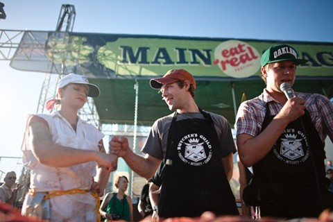Katy Quinn (left) competed in last year's Eat Real butchery contest. - PHILLIP YIP