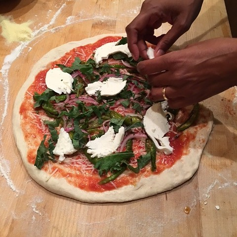 """Preeti Mistry making one of her """"Indian Neapolitan"""" pizzas. Coming soon to Emeryville. - PREETI MISTRY"""