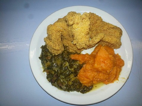 Fried catfish, yams, and greens. - NELLIE'S SOULFOOD (VIA FACEBOOK)