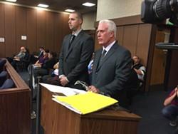 Officer Ryan Walterhouse (left) and attorney Cardoza. - ALI WINSTON