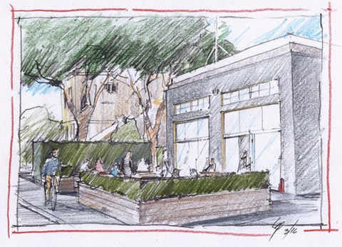 A drawing shows what Cosecha's proposed firehouse location might look like. - COSECHA