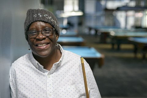 """Oakland resident Regina Shipman, 58, to Donald Trump: """"I am the opposite of hate."""" - PHOTO BY GEORGE BAKER"""