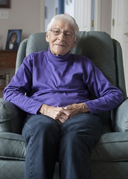 """Lucille Hammes, 89, to Trump: """"Your statements about increasing our nuclear power, and your appointment for ambassador to Israel, really cause me grave concern."""" - PHOTO BY JON HERMISON"""