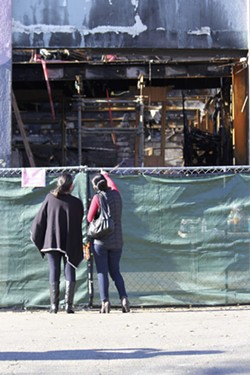 Visitors at the Ghost Ship site this past December. - PHOTO BY DAMU DAILEY