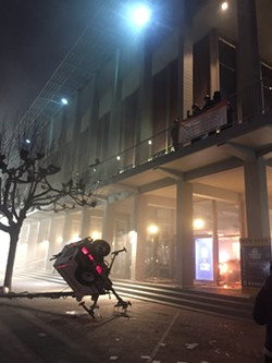 On February 1, protesters at UC Berkeley demonstrate and attack the campus building where Milo Yiannopoulos was scheduled to speak. - SUHAUNA HUSSAIN