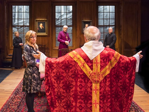 THE DEAN, HIS PA, THE VIRGER, THE BISHOP OF LONDON, AND THE CANON CHANCELLOR (PAUL WHITWORTH) PREPARE FOR SERVICE IN AURORA THEATRE COMPANY'S U.S. PREMIERE OF TEMPLE
