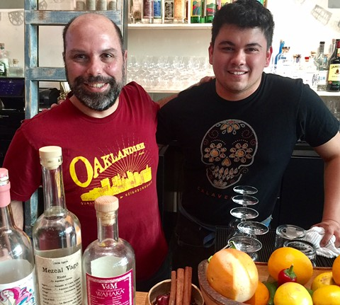 Christ Pastena (left) and a staffer at Calavera in Uptown Oakland. - PHOTO BY NICK MILLER