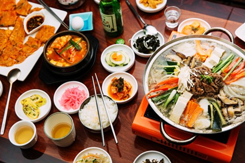 The spread at Daol Tofu, a new Korean spot in Temescal. - ANDRIA LO