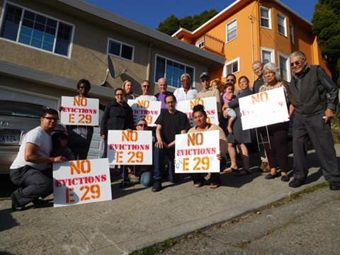 Residents of E. 29th Street rallied earlier this week against the evictions.