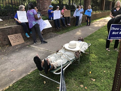 Judge Wendell Griffen protests capital punishment in Little Rock on Good Friday. - PHOTO BY MITCHELL MCCOY