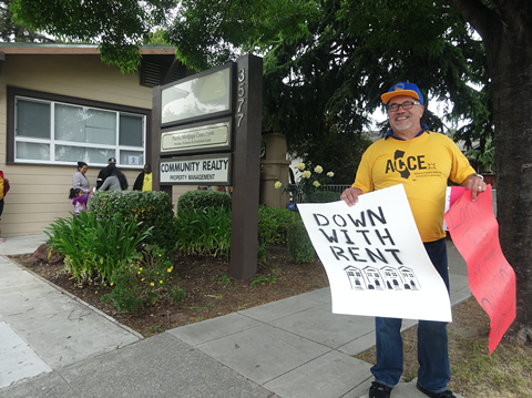Activists outside of Marr's Oakland office last year.