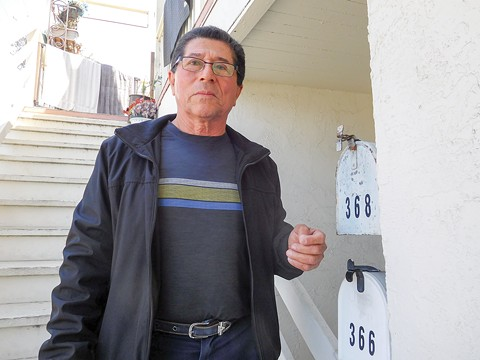 Salvador Sotelo says the apartment below him is unoccupied — but his landlords claim they've been living there. - DARWIN BONDGRAHAM