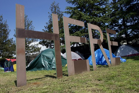 A homeless encampment on the Berkeley-Oakland border. - PHOTO BY HAYDEN BRITTON