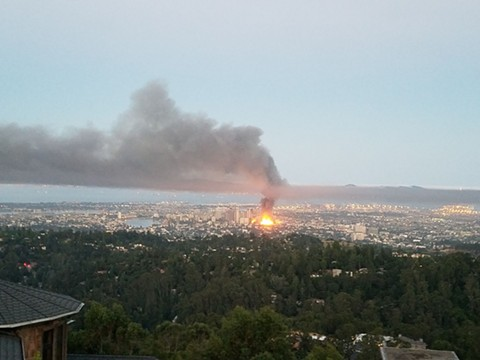 The fire was large enough to see from the Oakland hills. - STAN KIANG