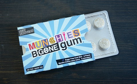 No weed in this gum ... but it will help with the weed munchies. - BRIAN BRENEMAN