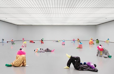 Clowns in repose in Ugo Rondinon's installation vocabulary of solitude. - COURTESY OF BAMPFA
