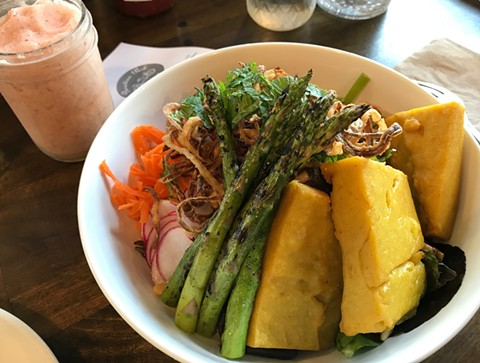 Paradise salad, with grilled asparagus, snap peas, pickled red onion, and chickpea tofu. - JANELLE BITKER