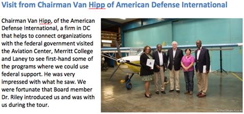 According to Peralta Chancellor Jowel Leguerre, Van Hipp visited Meritt College earlier this year. - PERALTA COMMUNITY COLLEGE DISTRICT