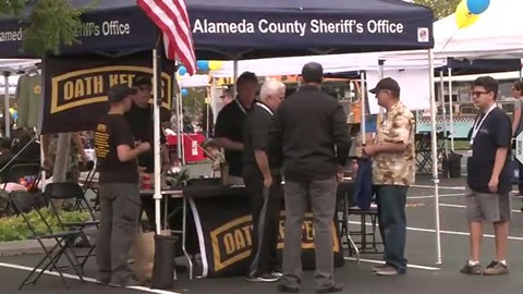 A screenshot from a news report that aired on CBS SF Bay Area showed an Oath Keepers Booth at an Urban Shield event. - COURTESY OF CBS SF BAY AREA