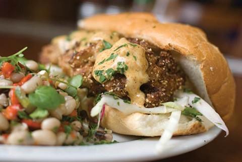 Brown Sugar Kitchen's fried oyster po'boy. - CHRIS DUFFEY