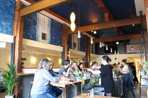 Crowds flooded into Copper Spoon as soon as it opened Sunday night. - JANELLE BITKER