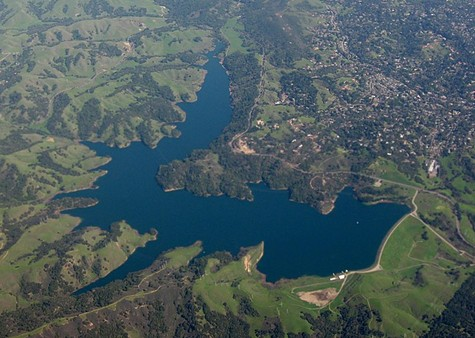 Aerial view of the Briones Reservoir in Contra Costa County.