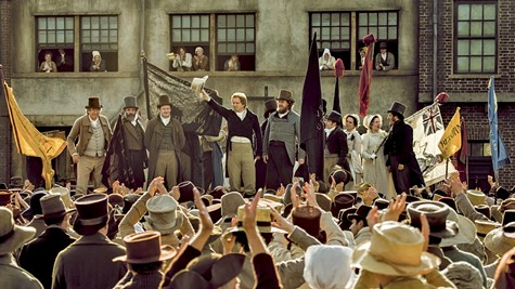 Middle-class people from North England band together in Mike Leigh's Peterloo.