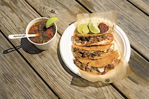 La Santa Torta uses beef instead of goat and serves the birria in crisp, cheesy tacos stained a reddish-orange