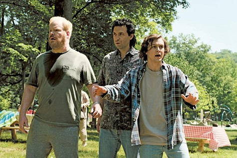 Being Frank: Gaffigan, Karpovsky, and Miller.