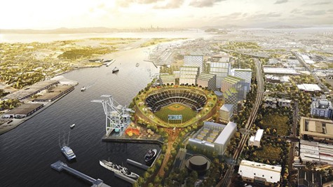 The proposed stadium at Howard Terminal.