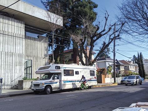 An RV dweller parked on College Avenue, near UC Berkeley.