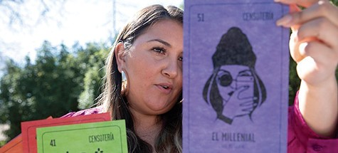 Angie Sanchez pulls out a card from the Censoteria deck.