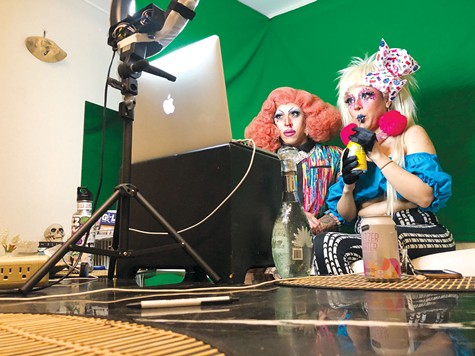 Kochina Rude, left, and Lisa Frankenstein streamed a performance for 13 hours on Twitch for the third annual Oaklash Drag Festival.