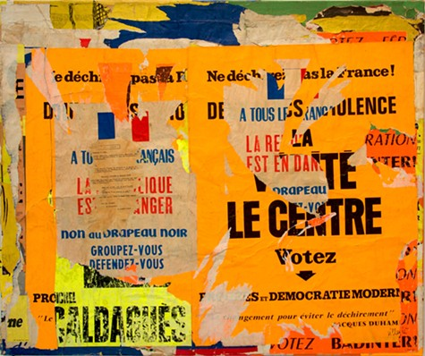 Jacques VILLEGLE, Sevres-Babylone – Ne dechirez pas la France , 8 aout 1968, decollage mounted on canvas, 37 x 44 inches