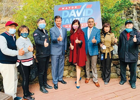 THUMBS UP: Alameda County Supervisor–elect David Haubert (center) with Fremont Councilmember Yang Shao (left) and Fremont Mayor Lily Mei (right).