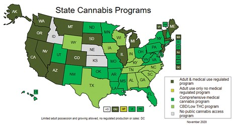 LIKE A WEED:  Part of the cannabis industry's growth in 2020—despite investment freezes—is from states that have made the plant legal.