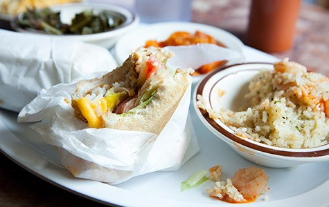 The fried fish po'boy (left) and the shrimp rice were two standouts.