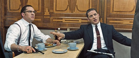 Thomas Hardy stars as Reggie and Ronnie Kray in Legend.