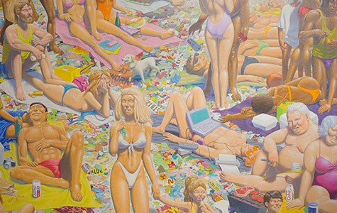 """Litter Beach"" (detail above) is one of Guy Colwell's most well-known paintings."