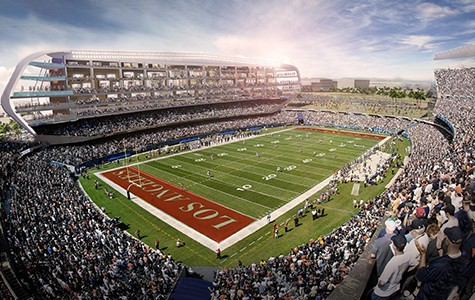 A rendering of a proposed new Raiders stadium in LA.