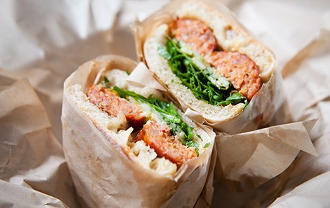 Aunt Malai's Deep-Fried Lao Sausage Sandwich is one of chef Jeff Mason's classic creations.