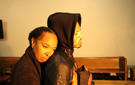 Dawn troupe (left) and William Hartfield play heartbreaking victims of gun violence in The Gospel of Lovingkindness.