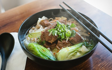 Famous Bao's excellent beef noodle soup is loosely inspired by a  Chinese fast-food chain, ironically called California Beef Noodle King.