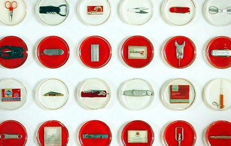 "For her 2007 piece ""Fear Culture,"" Pred embedded confiscated tools into petri dishes."