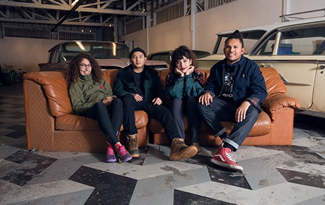 "YK La Familia members (left to right) Yadiel ""Yaya"" Plascencia, Victor Ta, Amina El Kabbany, and Kristian Contreras inside Oakland Terminal."
