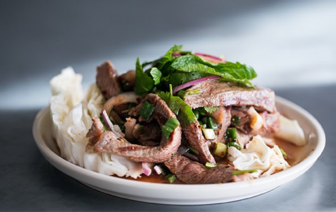 Slices of ribeye steak added a fatty richness to the beef larb.