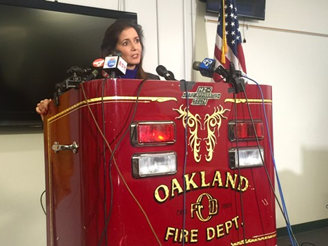 Oakland Mayor Libby Schaaf discusses the fire department at a Wednesday afternoon press conference.