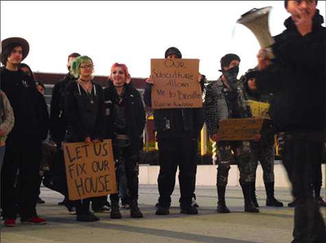 Supporters of Burnt Ramen rally outside Richmond's city council meeting on Tuesday night.
