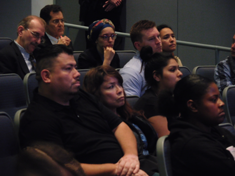 "Family members of Elena ""Ebbie"" Mondragon listen during last night's Hayward City Council meeting."