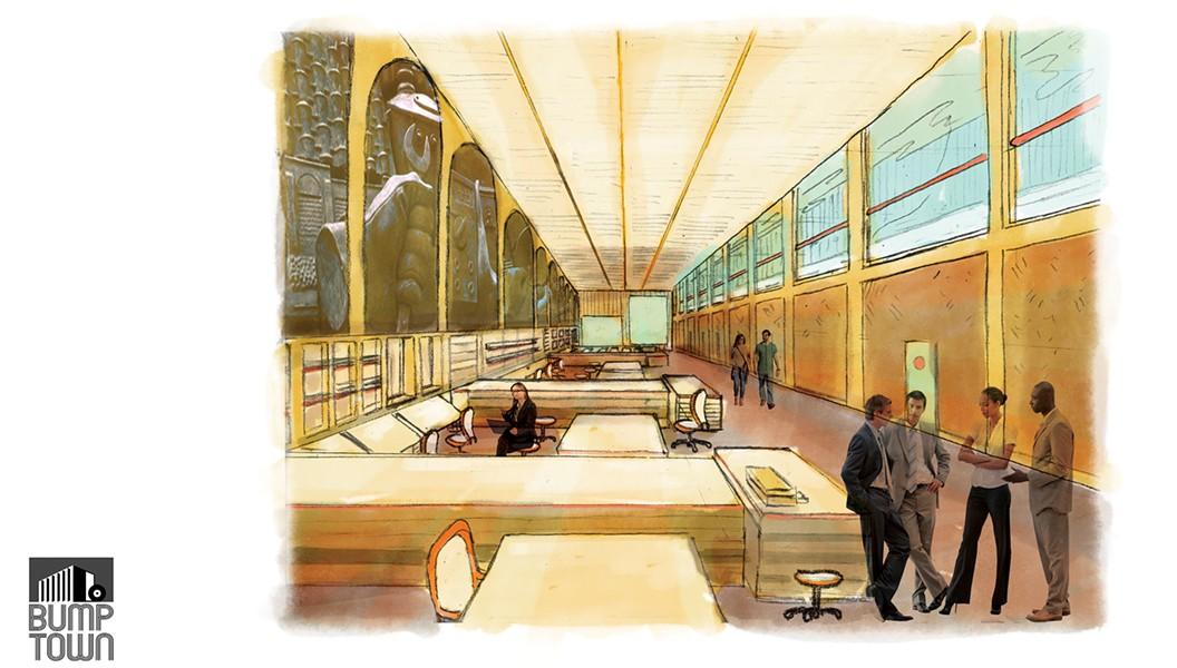 An artist's rendering of Bump Town's workspace.